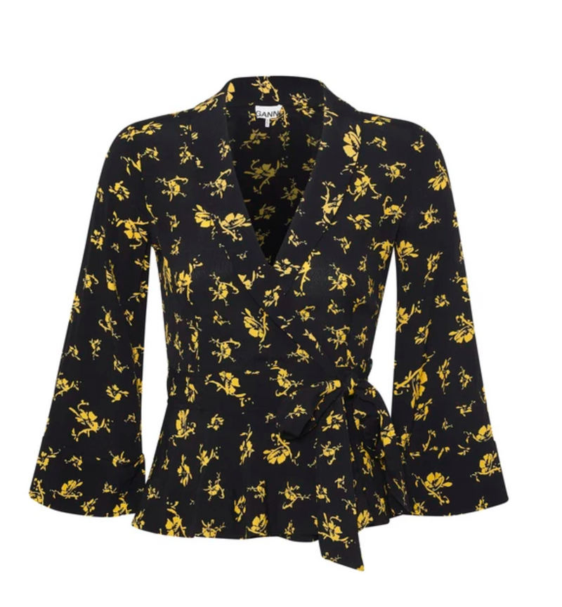 Ganni Georgette Wrap Blouse - Black and Yellow @ Hero Shop SF