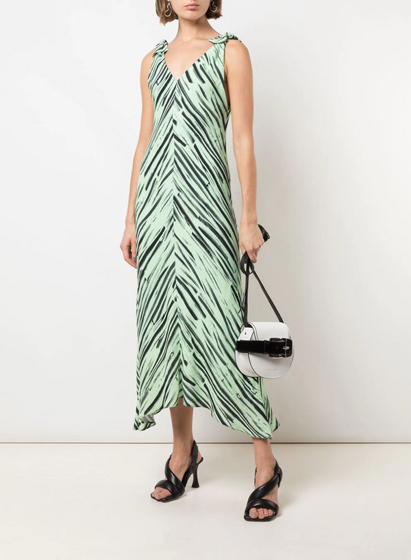 Proenza Schouler White Label Printed Georgette Knot Dress - Pistachio @ Hero Shop SF
