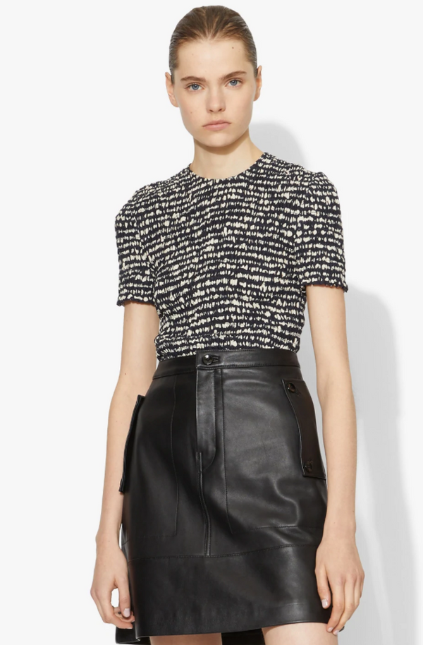 Proenza Schouler White Label Short Sleeve Smocked Top - Black dot @ Hero Shop SF