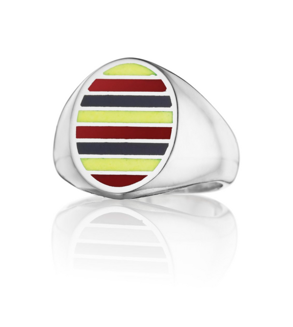 Jessica Biales Classic Signet Ring - Red/Yellow/Blue