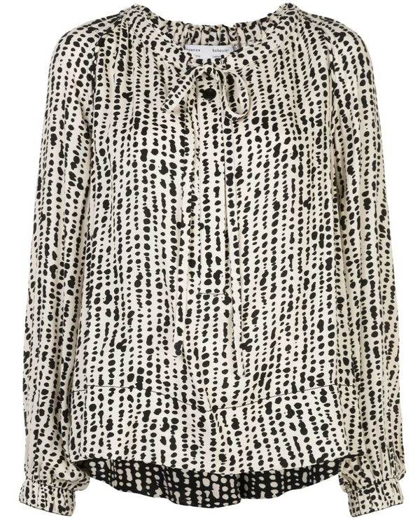 Proenza Schouler White Label Printed Georgette Long Sleeve Top