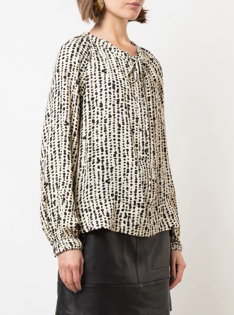 Proenza Schouler White Label Printed Georgette Long Sleeve Top - Inky @ Hero Shop SF