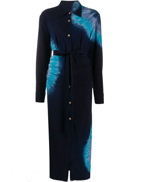 The Elder Statesman Magic Silk Fisheye Dress - Navy @ Hero Shop SF
