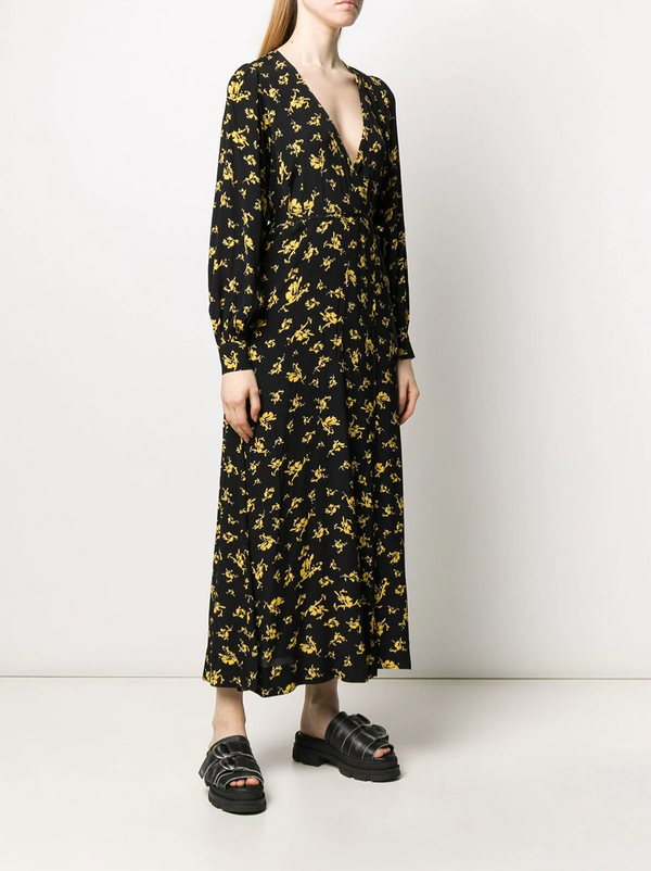 Ganni Printed Crepe Wrap Dress - Black and Yellow @ Hero Shop SF