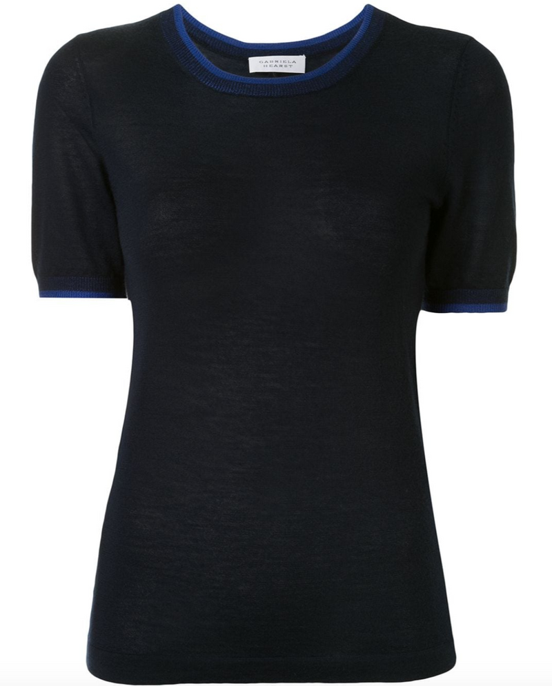 Gabriela Hearst Apollo Knit T-Shirt - Navy @ Hero Shop SF