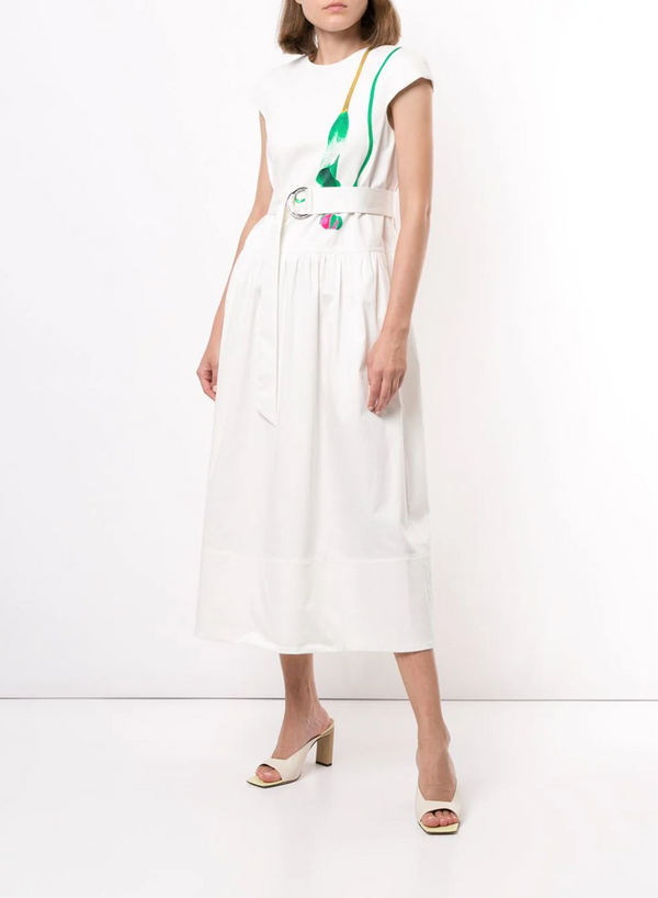 Tibi Calla Lily Drop Waist Dress - White @ Hero Shop SF