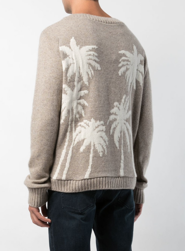The Elder Statesman Palm Tree Sweater - Oatmeal @ Hero Shop