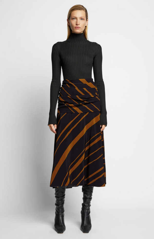 Proenza Schouler Diagonal Stripe Ruched Skirt - Dark Khaki @ Hero Shop