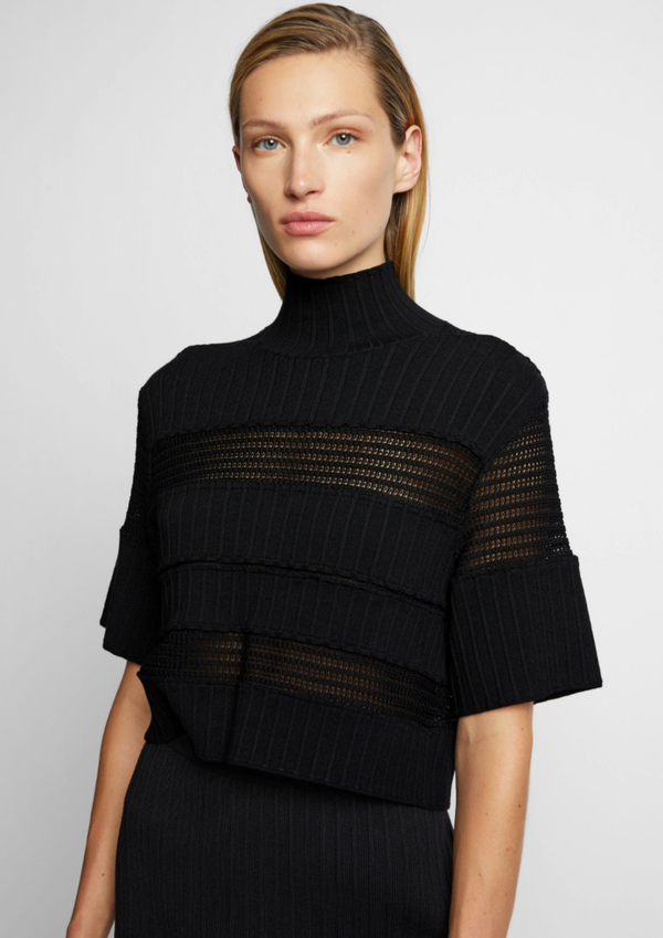 Proenza Schouler Paneled Lace Rib Knit Top - Black @ Hero Shop