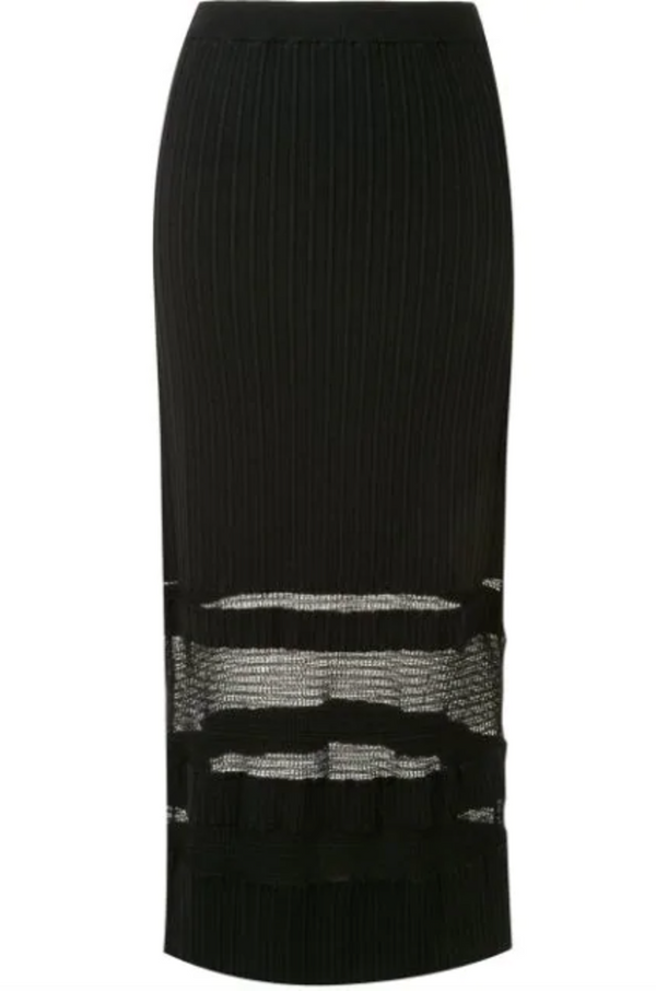 Proenza Schouler Paneled Lace Rib Knit Skirt - Black @ Hero Shop