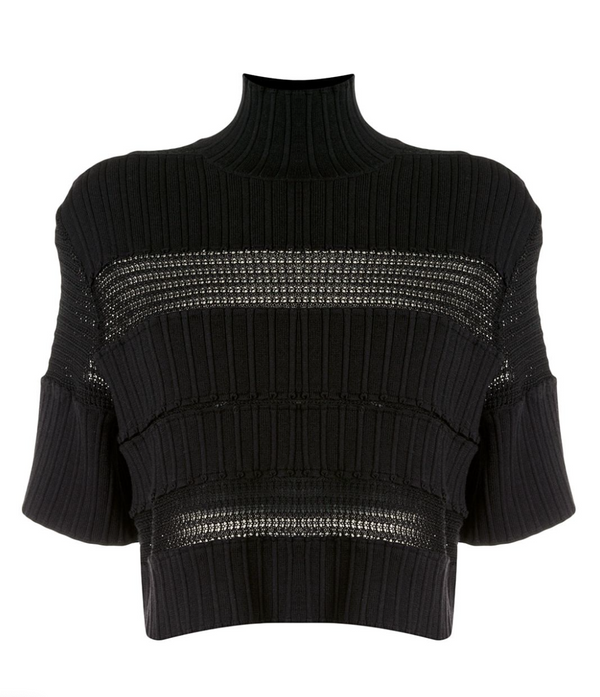 Paneled Lace Rib Knit Top