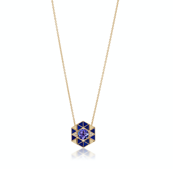 Evil Eye Inlay Necklace - Lapis & Tanzanite