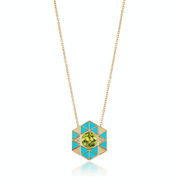 Harwell Godfrey Evil Eye Inlay Necklace - Peridot & Turquoise @ Hero Shop