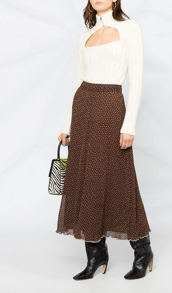 Ganni Pleated Georgette Skirt - Chicory Coffee @ Hero ShopGanni Pleated Georgette Skirt - Chicory Coffee @ Hero Shop