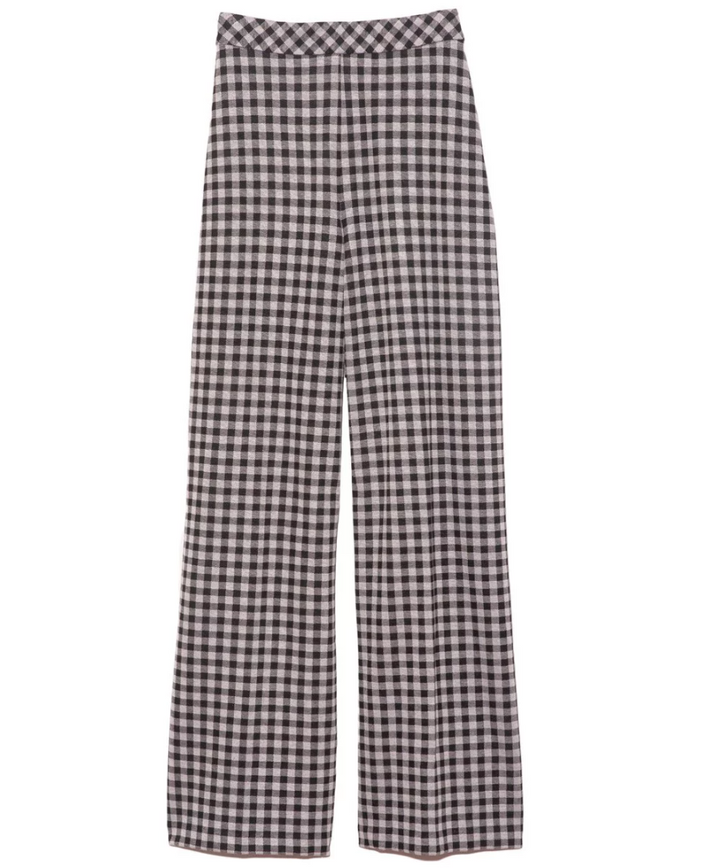 Rosetta Getty Pull On Cropped Straight Pant - Gingham @ Hero Shop