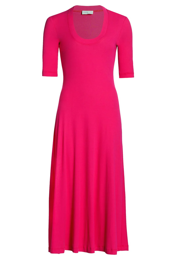 Rosetta Getty Cropped Sleeve U-Neck Tee Dress - Magenta @ Hero Shop