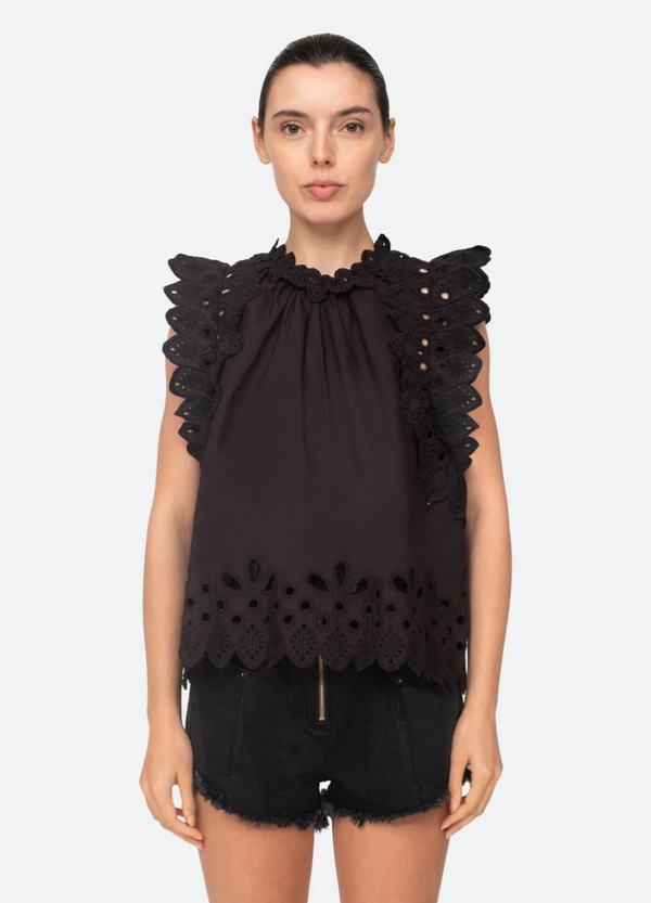 Sea NY Hazel Eyelet Flutter Sleeve Top @ Hero Shop