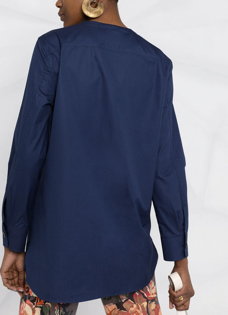 Marni Long Sleeve Poplin Top - Navy @ Hero Shop