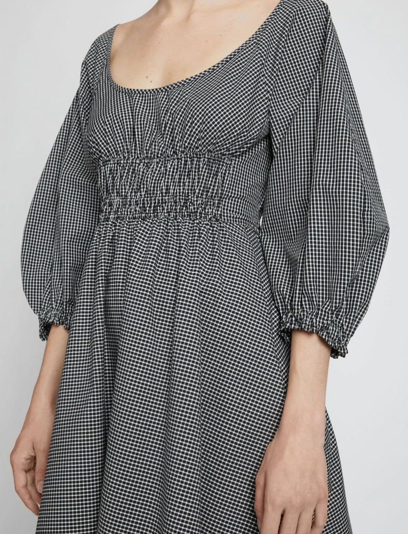 Plaid Puff Sleeve Poplin Dress