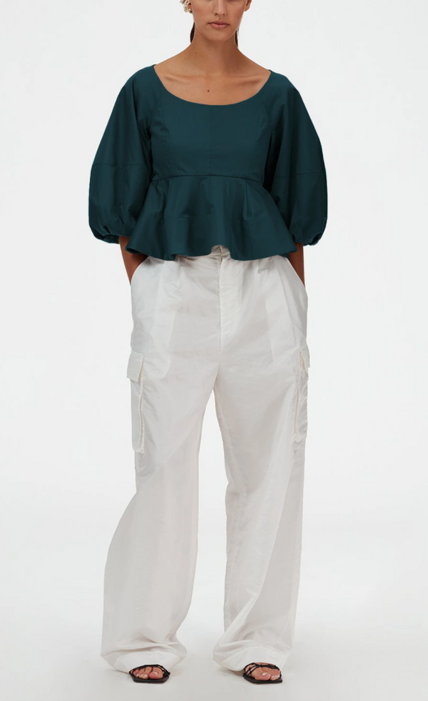 Tibi Eco Poplin Peplum Top @ Hero Shop