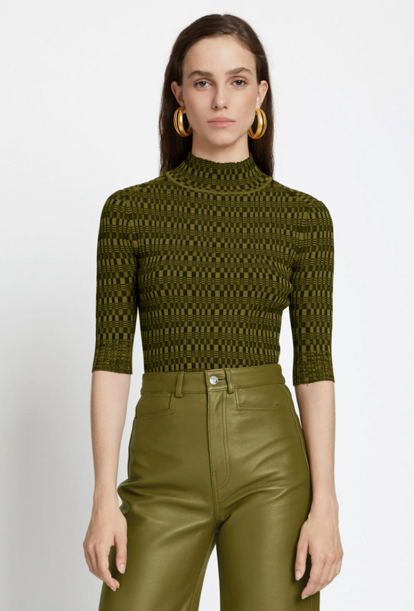 Proenza Schouler White Label Geo Rib Knit Top - Black Military @ Hero Shop