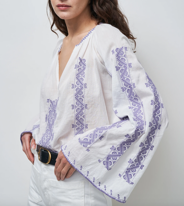 Nili Lotan Anna Embroidered Blouse - White - Lilac @ Hero Shop