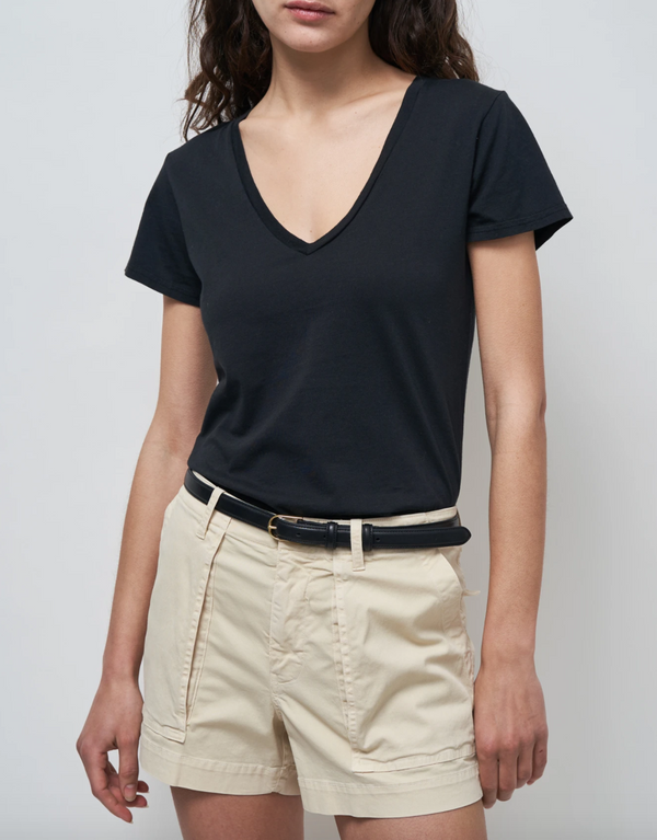 Nili Lotan Carol Vneck T-Shirt - Black @ Hero Shop