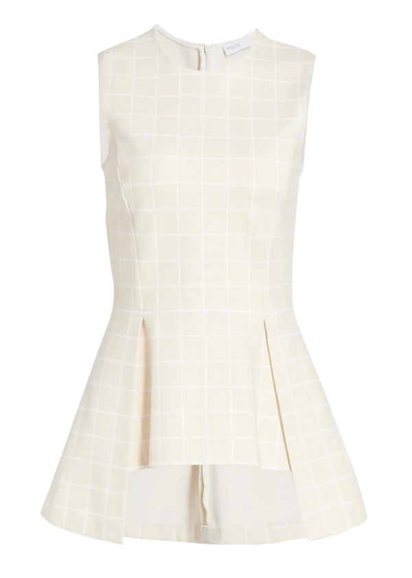 Rosetta Getty Windowpane Pleated Peplum Top @ Hero Shop