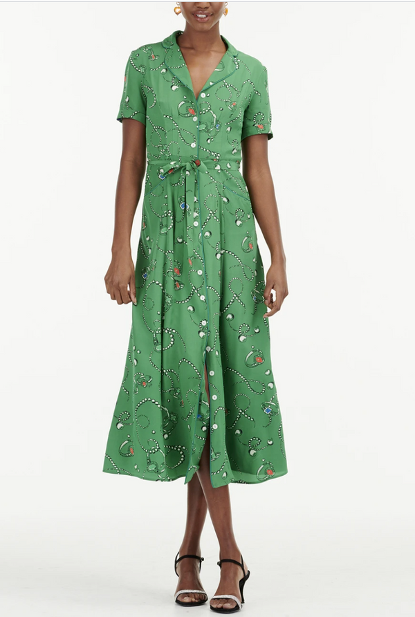 HVN Long Maria Pajama Dress - Green Jewels @ Hero Shop