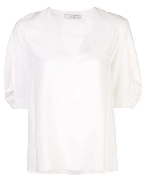 Tibi Viscose Twill V Neck Top