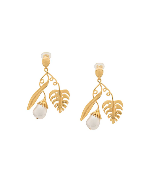 Aurelie Bidermann Leaf & Pearl earrings
