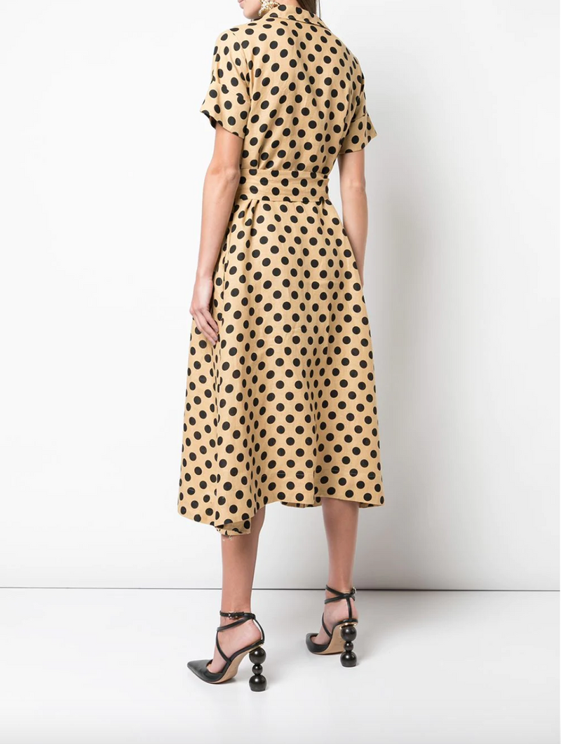 Lisa Marie Fernandez Polka Dot Linen Shirt Dress