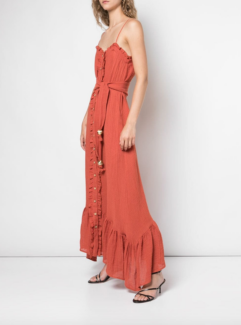 Lisa Marie Fernandez Button Down Ruffle Slip Dress in Paprika