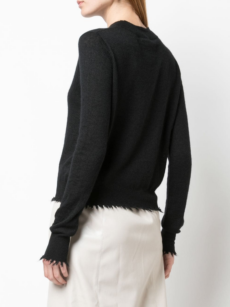 Co. Crewneck Sweater w/ Fray Hem