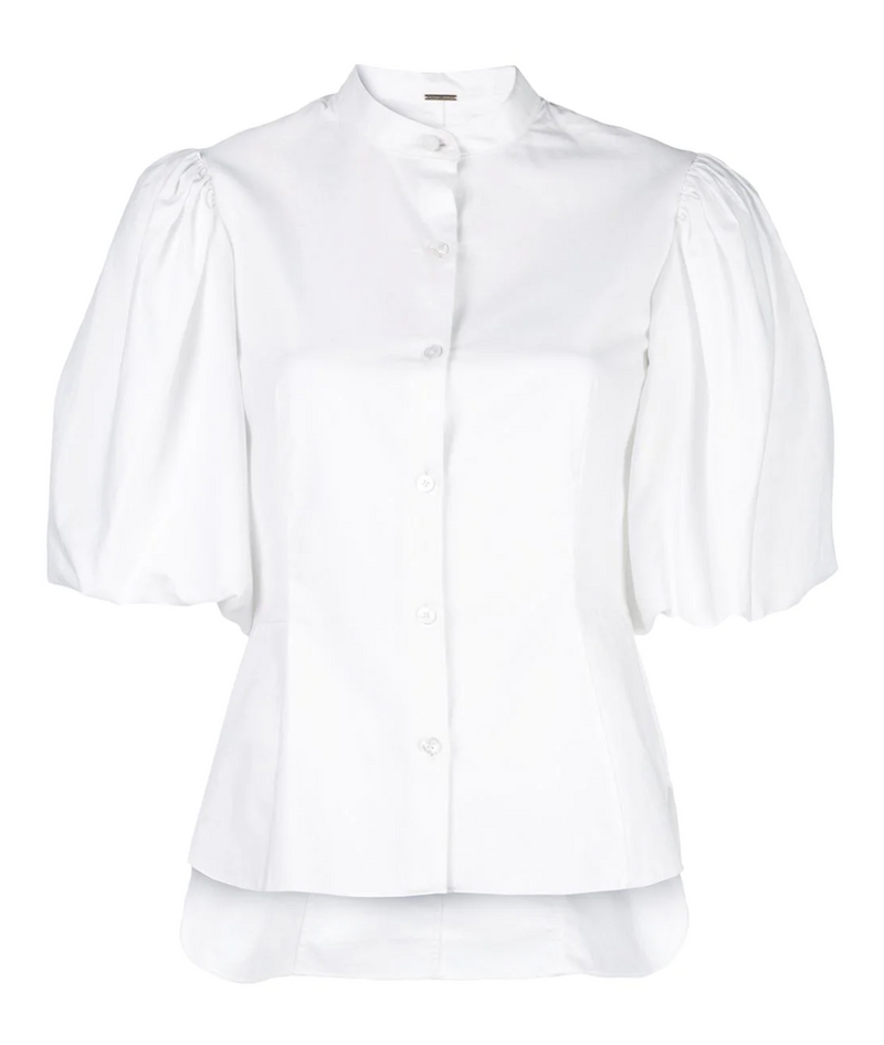 Adam Lippes Cotton Poplin Puff Sleeve Top