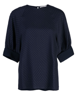 Tibi Pindot Shirred Top