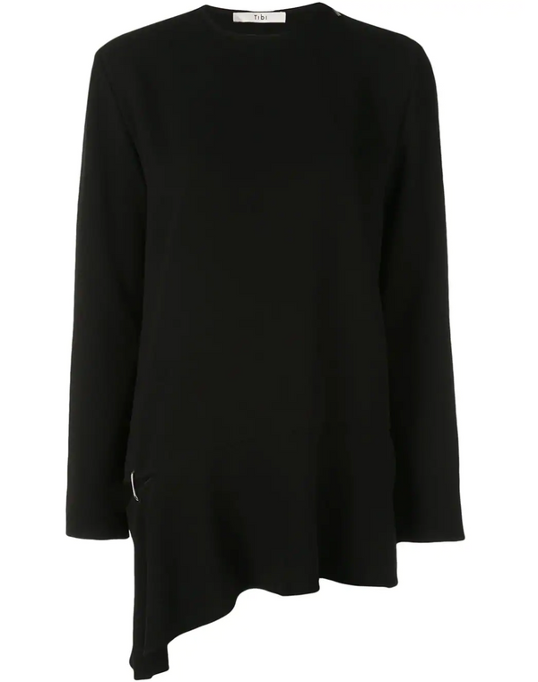 Tibi Long Sleeve Top with Detached Hem - Black @ Hero Shop SF