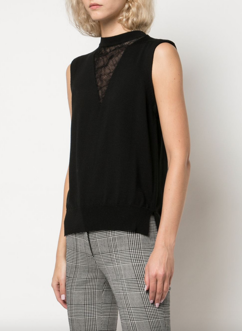 Adam Lippes Merino Crewneck with Lace