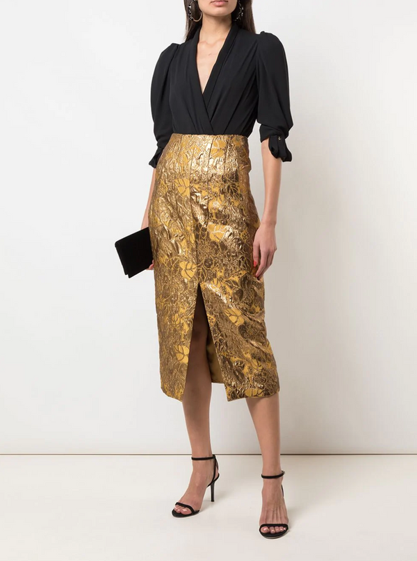 Brock Collection Pectolite Metallic Jacquard Skirt