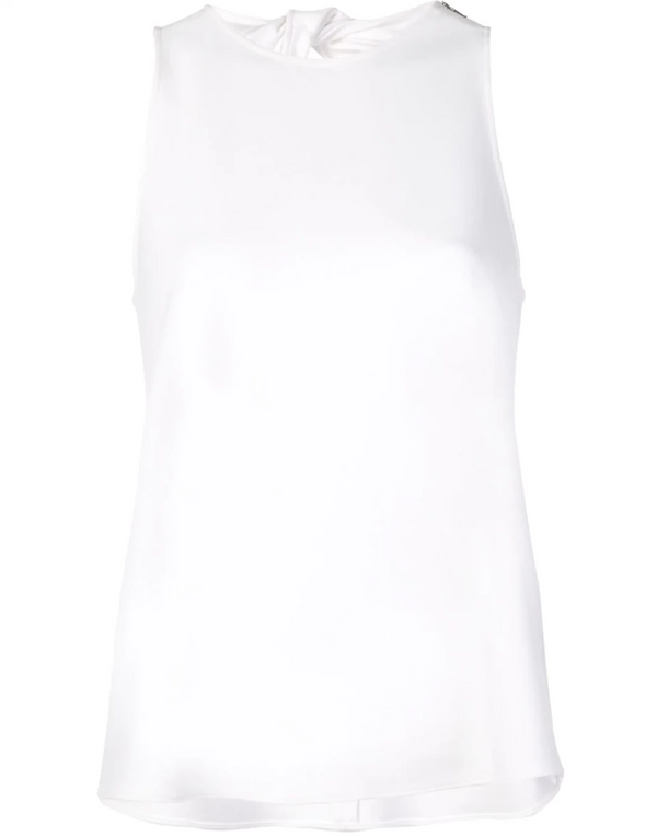 Tibi Crepe Tank w/ Twist Back - White @ Hero Shop SF