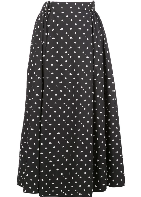 Rosetta Getty Poplin Skirt - Black-White @ Hero Shop SF
