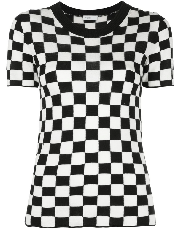 Rosetta Getty Checkered Short Sleeve Knit - Black-White @ Hero Shop SF