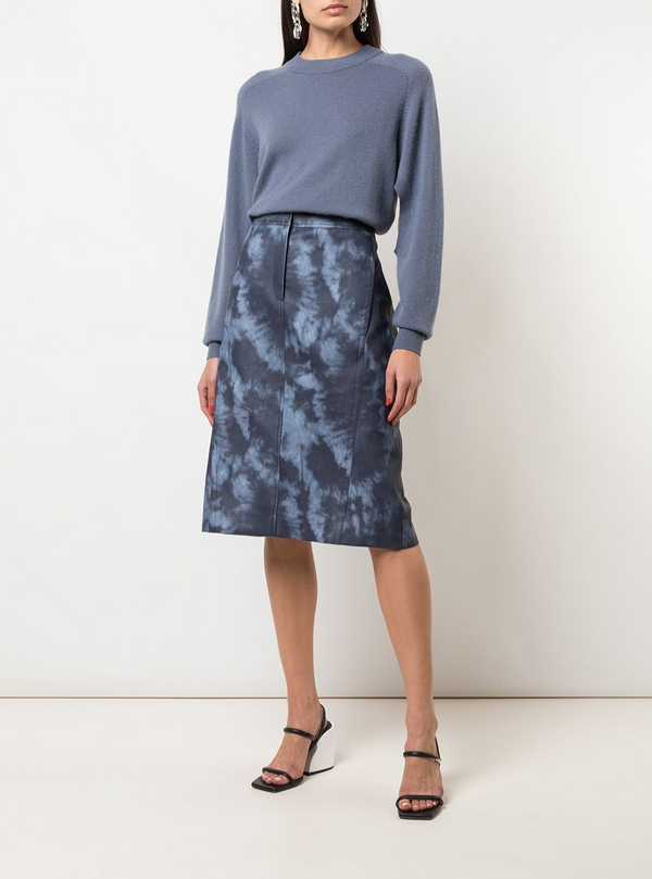 Tibi Rubberized Tie Dye Pencil Skirt - Blue @ Hero Shop SF
