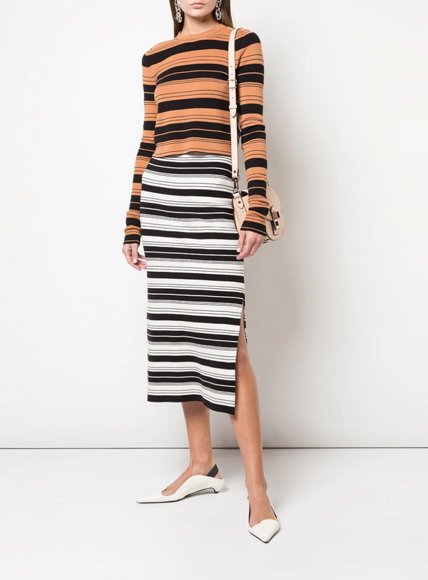 Proenza Schouler White Label Striped Cropped Crewneck - Cinnamon @ Hero Shop SF