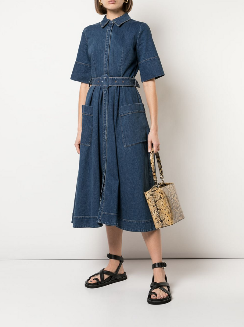 Co. Short Sleeve Denim Dress - Indigo @ Hero Shop SF