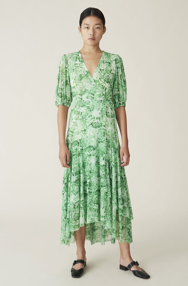 Ganni Printed Mesh Wrap Dress - Green @ Hero Shop SF