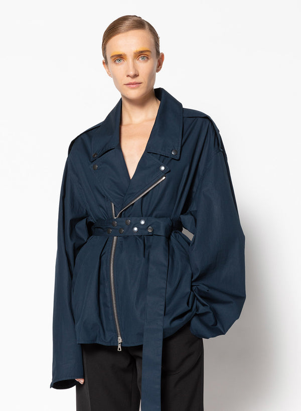 Dries Van Noten Vonar Cotton Poplin Jacket - Navy @ Hero Shop