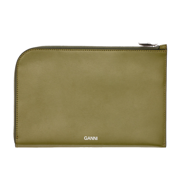 Ganni Leather Small Pouch - Avocado