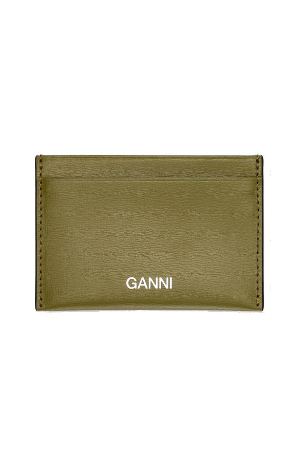 Ganni Textured Leather Card Case - Avocado Green @ Hero Shop SF