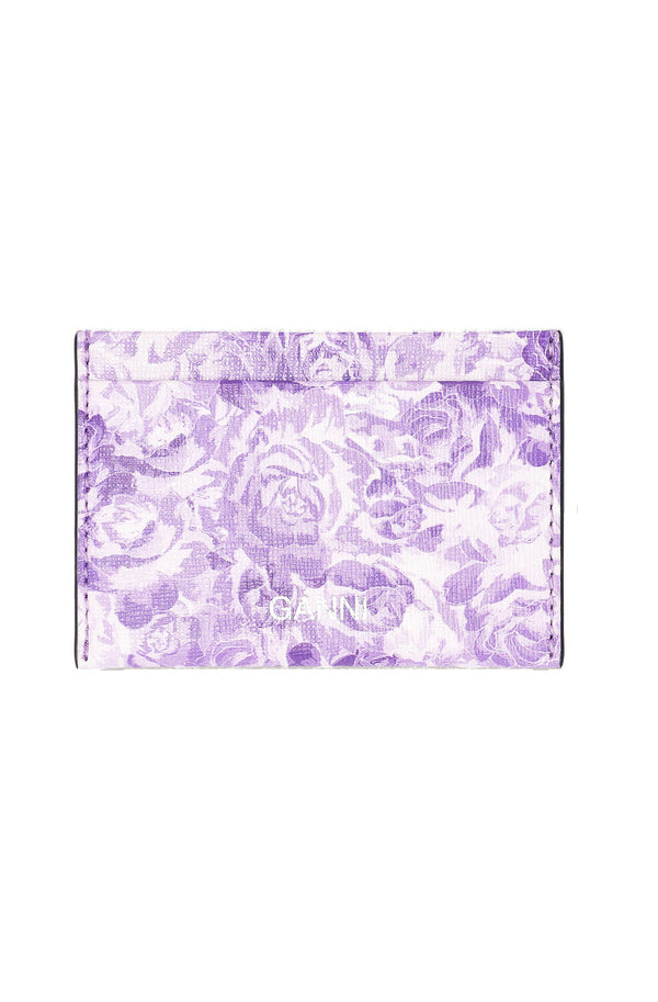 Ganni Printed Leather Card Case - Violet @ Hero Shop SF